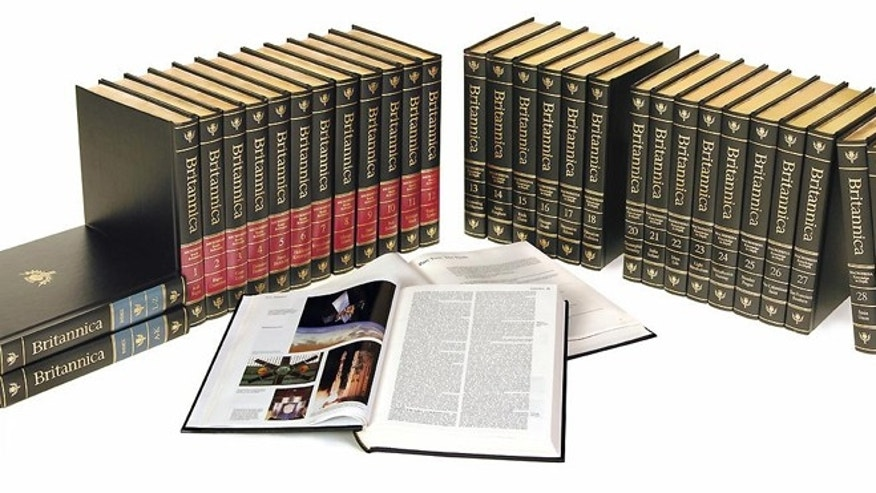 The last edition of the Encyclopaedia Britannica, a 32-volume set that weighs 129 pounds.