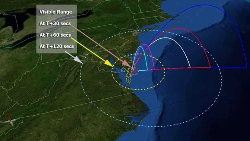 This map of the United States' mid-Atlantic region shows the flight profile of NASA's five ATREX rockets, as well as the projected area where they may be visible after launch on March 14, 2012. The rockets' chemical tracers, meanwhile, should be visible from South Carolina through much of New England.