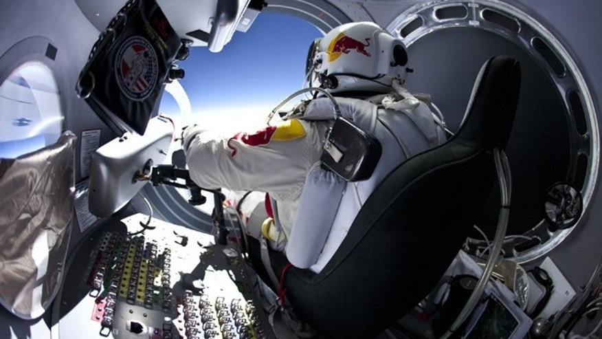 March 15 2012: Pilot Felix Baumgartner of Austria prepares to exits the capsule before his jump at the first manned test flight for Red Bull Stratos in Roswell, New Mexico.