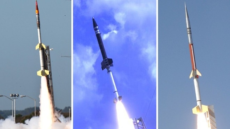 NASA's ATREX mission will launch five rockets within five minutes to help scientists study the high-altitude jet stream located 60 to 65 miles above the surface of the Earth. The rockets being used for the mission are two Terrier-Improved Orions (left), one Terrier-Oriole (center) and two Terrier-Improved Malemutes (right).