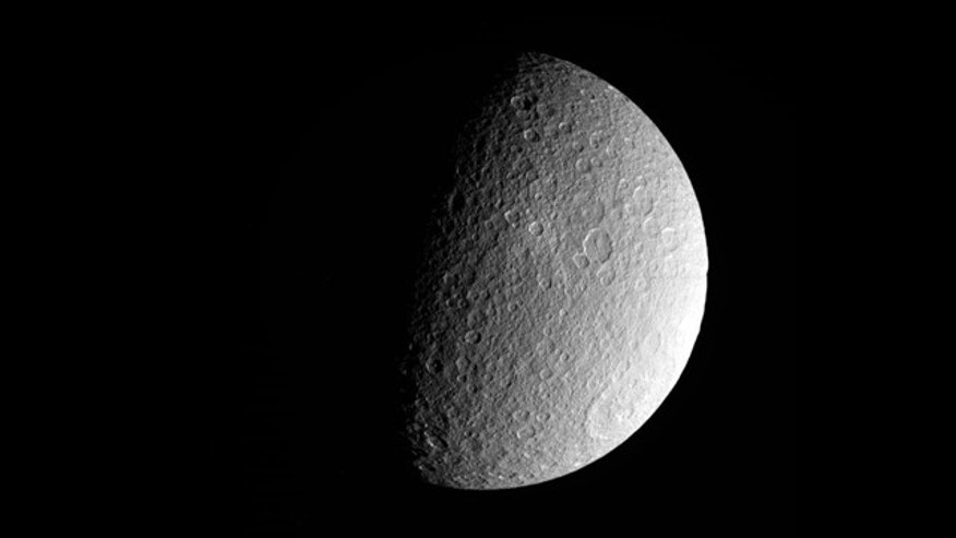 A recent photo of Saturn's moon Rhea snapped by NASA's Cassini spacecraft.