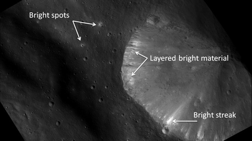 This image from NASA's Dawn spacecraft shows the brightest area seen on Vesta so far.