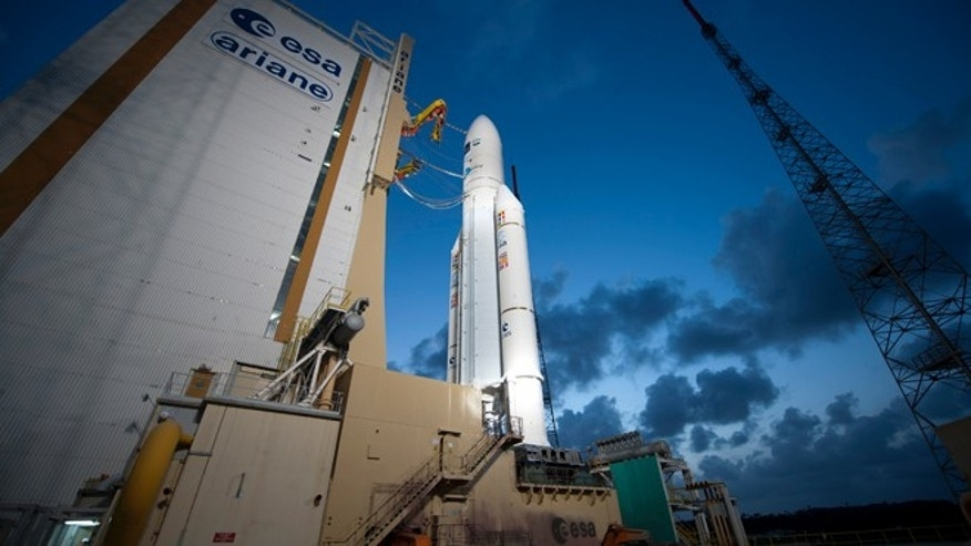 March 21, 2012: Ariane 5 and ATV Edoardo Amaldi on the launch pad in Kourou, French Guiana.Weighing in at 19,714 kg, including 6,596 kg of fuel, air, oxygen, scientific equipment, spare parts and crew supplies, ATV-3 is the heaviest payload ever lofted by Ariane 5.