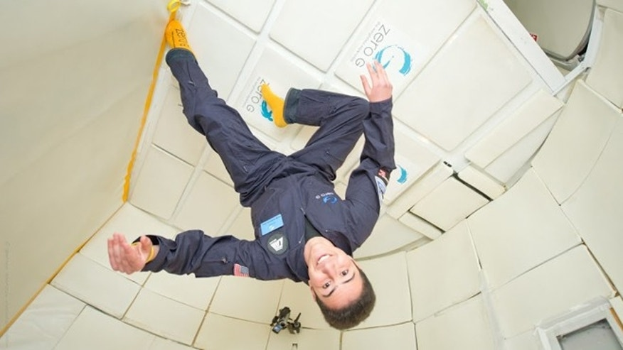 March 22, 2012: 18-year-old Amr Mohamed from Egypt simulates microgravity.