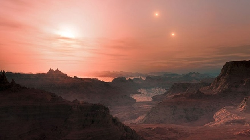 Artist's impression of a sunset from the super-Earth Gliese 667 Cc. The brightest star in the sky is the red dwarf Gliese 667 C, which is part of a triple star system.