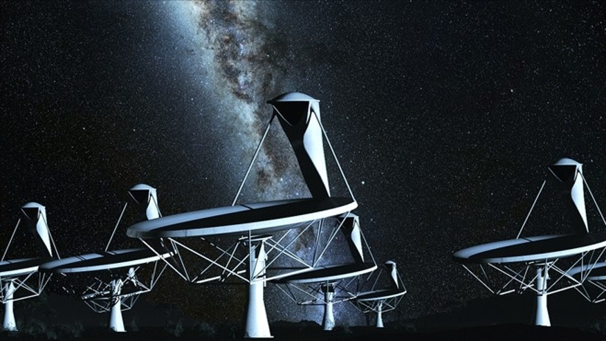 Radio dishes by night, an artist's impression from 2010 animation. The SKA is an international consortium to build the worlds largest and most sensitive radio telescope. Scientists estimate that the processing power required to operate the telescope will be equal to several millions of todays fastest computers.