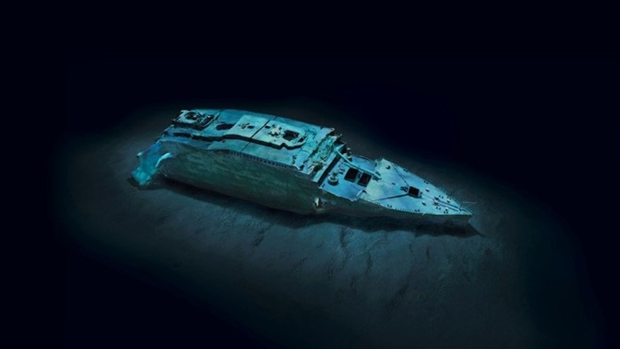 Etheral views of Titanic's bow (modeled) offer a comprehensiveness of detail never seen before. The optical mosaics each consist of 1,500 high-resolution images rectified using sonar data.