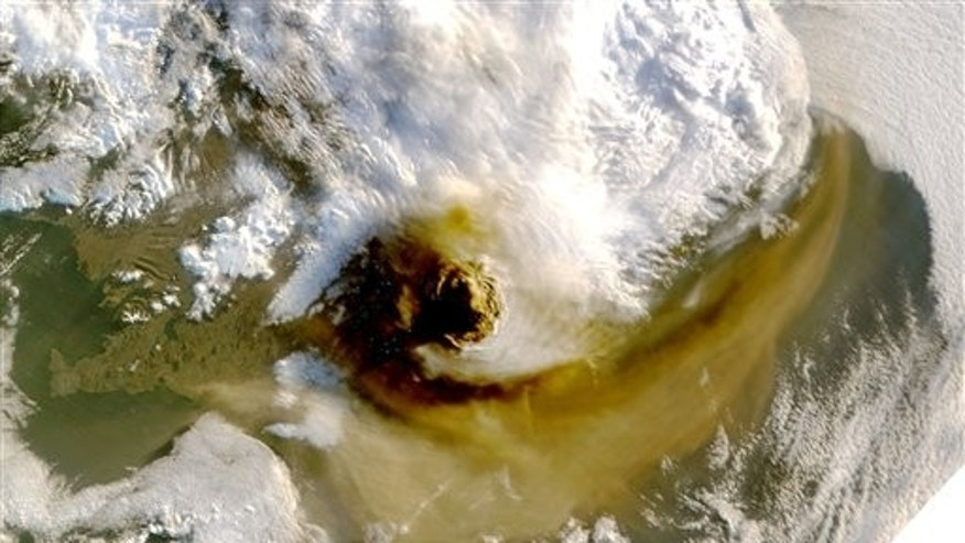 May 22, 2011: This satellite image provided by NASA shows the plume of dense ash from the Grimsvotn volcano in Iceland as it casts a shadow to the west.