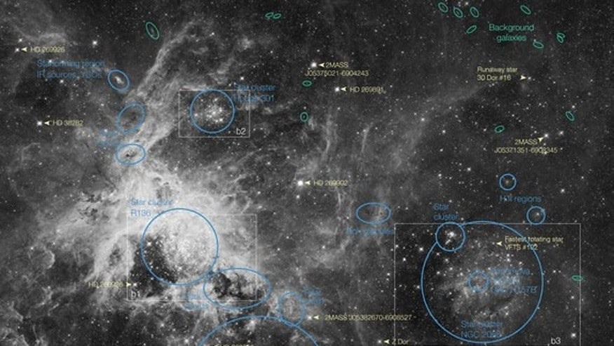 This annotated map identifies several prominent features in an image of the Tarantula Nebula, a prominent region of star formation located in the Large Magellanic Cloud (LMC) the nearest neighboring galaxy to the Milky Way.