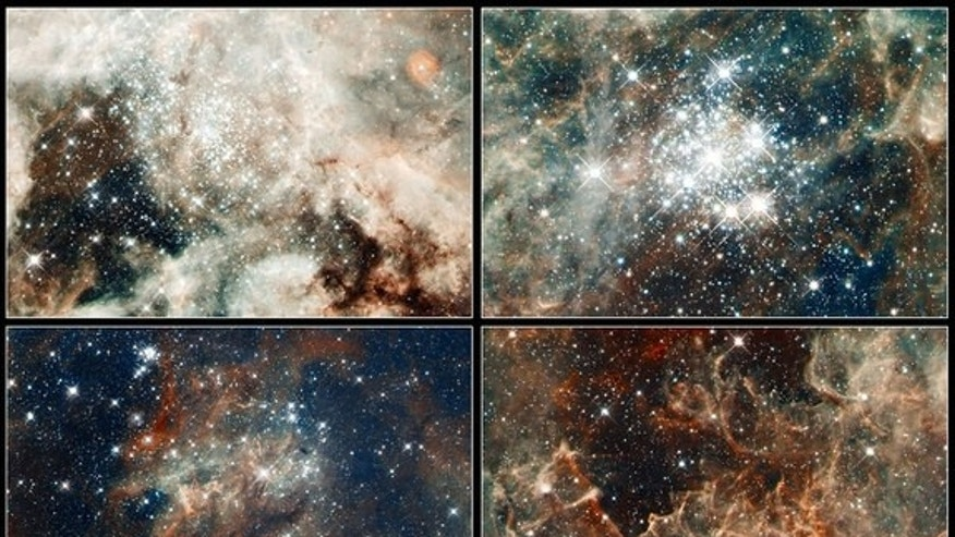 These four Hubble Space Telescope views are part of a massive mosaic of the Tarantula nebula. They show: the young star cluster NGC 2070 (top left), star cluster NGC 2060 (bottom left), Hodge 301 star cluster (top right), and the region RMC 136, which is home to massive stars.