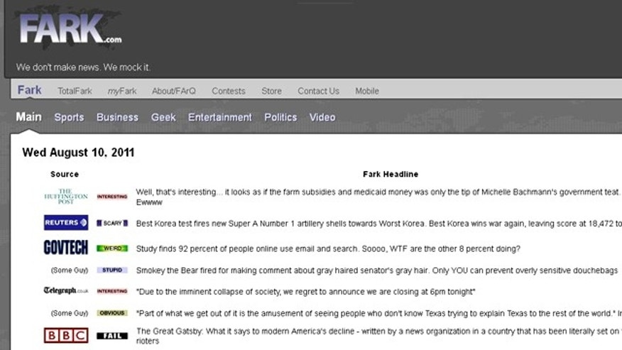 A screenshot of news aggregation website Fark.com, which recently settled a patent infringement lawsuit for $0.