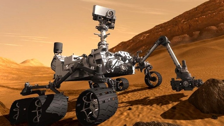 This artist's concept features NASA's Mars Science Laboratory Curiosity rover, a mobile robot for investigating Mars' past or present ability to sustain microbial life. Curiosity is slated to launch toward the Red Planet on Nov. 26, 2011.