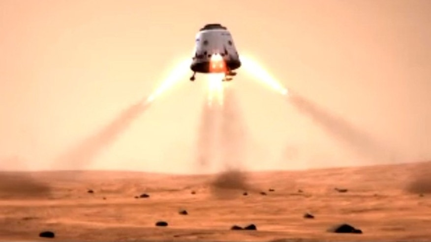 This still from a SpaceX mission concept video shows a Dragon space capsule landing on the surface of Mars. SpaceX's Dragon is a privately built space capsule to carry unmanned payloads, and eventually astronauts, into space.