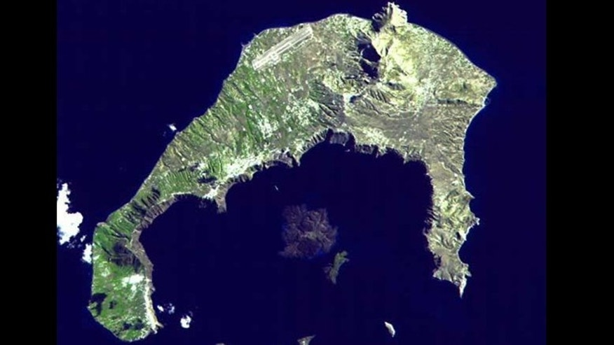 One of the largest volcanic eruptions in the past 10,000 years occurred around 1620 BC on the island of Santorini, seen here in a satellite image. The event may have inspired the legend of the lost continent of Atlantis.