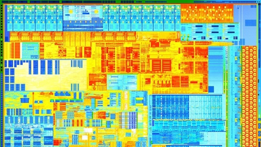 A portion of the latest Intel Core CPU, built off a new 22-nanometer manufacturing process that the company says will fuel Moore&#39&#x3b;s Law for years to come.