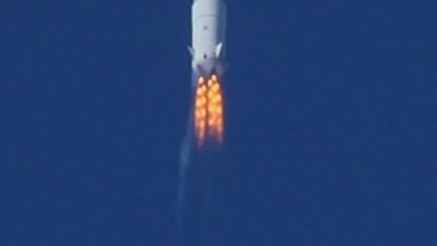 Blue Origin's second test vehicle, a suborbital launch vehicle, soars through Mach 1.2 at 45,000 feet in this image released by the secretive private spaceflight company. This image was taken in August 2011 right before the thrust termination system activated, resulting in the loss of the vehicle, company officials said.