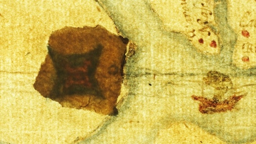 A patch stuck to a map painted by explorer John White between 1585-1586,when enhanced with ultraviolet light, shows a faint image that could be a clue to understand what happened to the Roanoke settlement that disappeared after White sailed back to England.