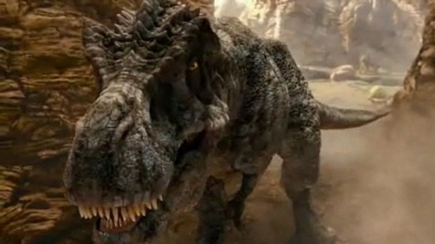 "Tyrannosaurus rex stalks his hapless victims in the movie, ""Land of the Lost."""