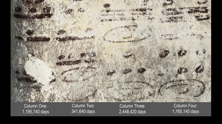 May 10, 2012: Four long numbers on the north wall of a ruined house related to the Maya calendar and computations about the moon, sun and possibly Venus and Mars; the dates stretch some 7,000 years into the future.