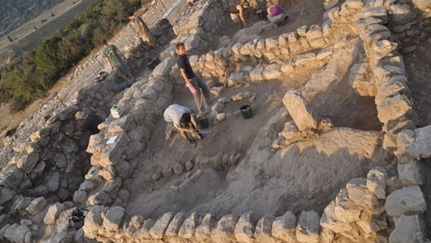 The excavation of a shrine in the 3,000-year-old city of Khirbet Qeiyafa near Jerusalem.