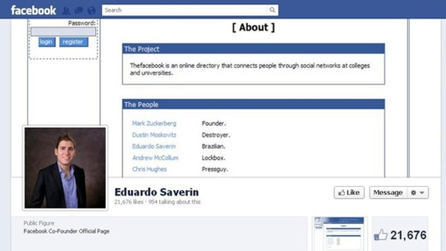 The Facebook page of company co-founder Eduardo Saverin, who renounced his U.S. citizenship ahead of the social network's hotly anticipate IPO.