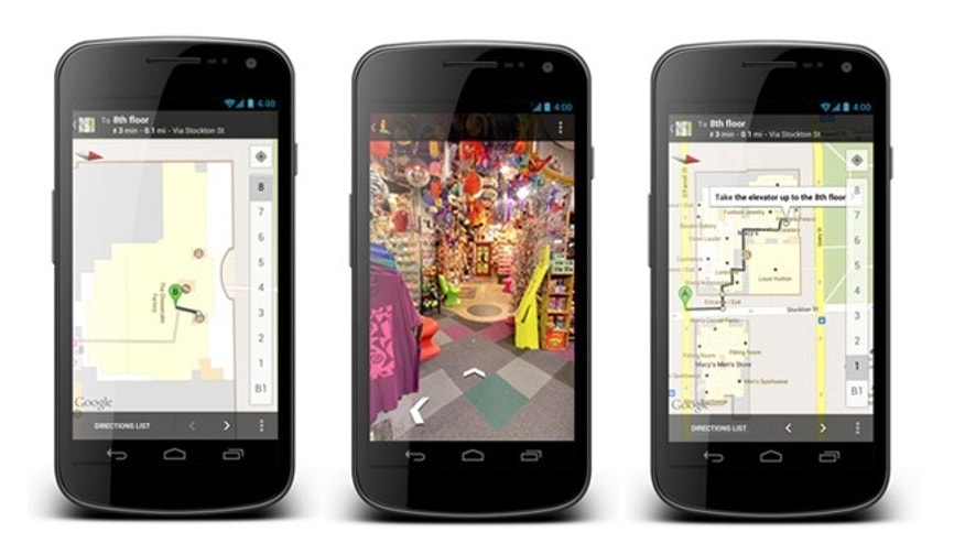 May 9, 2012: A new update to Google Maps offers not just maps of indoor locations but walking directions within buildings.
