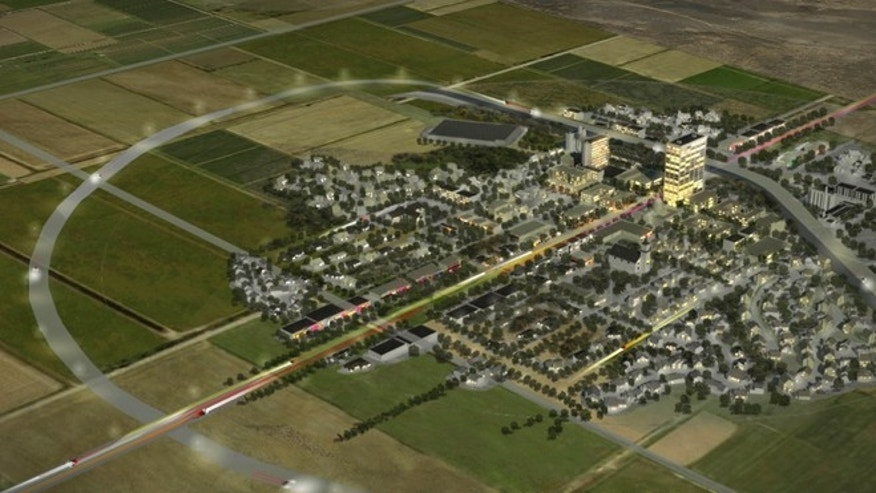 This artist rendering provided by the Center for Innovation, Testing and Evaluation shows the $1 billion scientific ghost town that will be developed in Lea County near Hobbs, N.M. Officials said the city without residents will be developed to help researchers test everything from intelligent traffic systems and next-generation wireless networks to automated washing machines and self-flushing toilets.