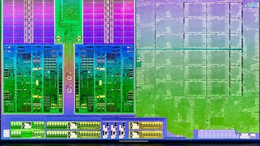 "May 14, 2012: A portion of the ""die shot,"" or close up photograph, reveals some of the parts making up the new Trinity processor from AMD."