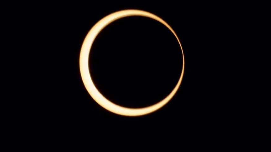 Jan.15, 2010: An annular solar eclipse -- whihc occurs when the moon blots out all but a ring around the sun --seen over Anuradhapura, Sri Lanka. This year's solar show can be viewed from eastern Asia to parts of North America.