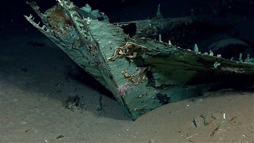 In this photo provided by NOAA Okeanos Explorer Program,  a well preserved shipwreck is seen about 200 miles off the coast of La., at a depth around 4,000 feet, in the Gulf of Mexico, Friday, April 26, 2012. While most of the ship&#39&#x3b;s wood has long since disintegrated, copper that sheathed the hull beneath the waterline as a protection against marine-boring organisms remains, leaving a copper shell retaining the form of the ship.  (AP Photo/NOAA Okeanos Explorer Program)