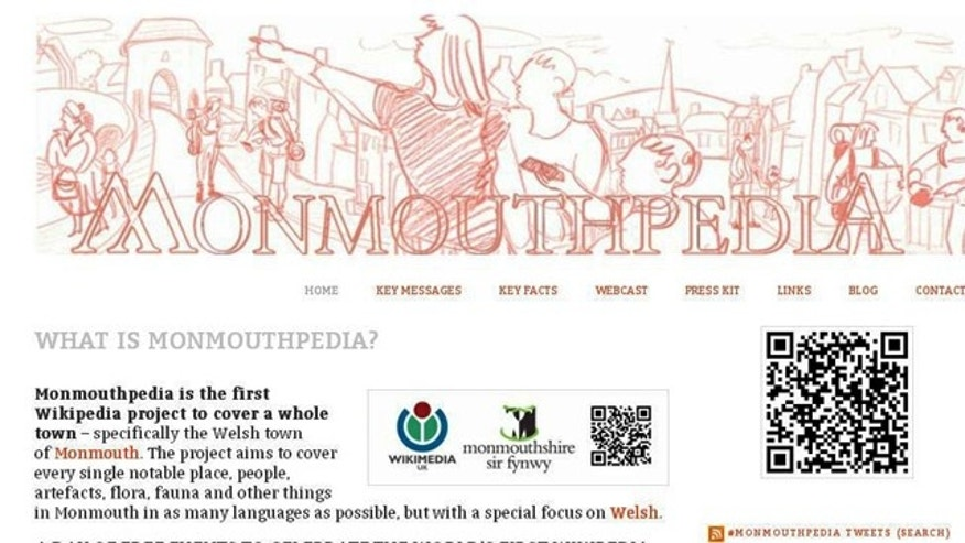 The town of Monmouth in Wales has been covered in modified bar codes that direct a person to Wikipedia -- making the world's first Wikipedia town, officials said.