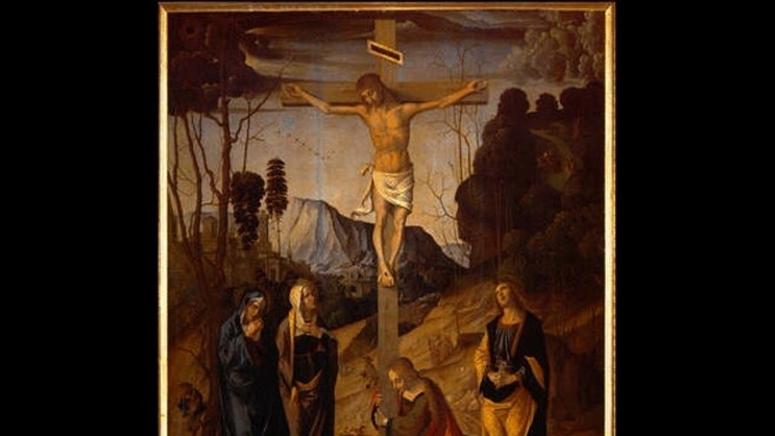 "A portion of the 1490 painting ""Crucifixion of Jesus of Nazareth,"" by Marco Palmezzano, currently held at the Uffizi Gallery in Florence, Italy."