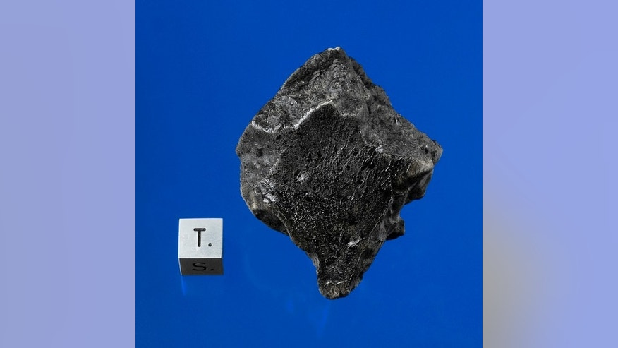 This is a meteorite rcovered in December 2011 near Foumzgit, Morocco following a meteorite shower which occurred on July 18, 2011. This meteorite was among the first specimens of the planet Mars known to have struck Earth in 49 years.  The specimen weighs 91 grams (1/5 pound) and measures 57 x 43 x 27mm or 2.25 x 1.5 x 1 inches.  It is worth in excess of $60,000.  The black crust seen is the result of this having burned through Earth's atmosphere prior to impact.  Acquired by Darryl Pitt of the Macovich Collection.