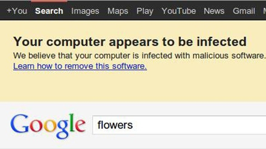 May 22, 2012: Google plans to aid an FBI awareness campaign with these warnings, which should crop up on the search results pages of more than half a million infected web browsers.