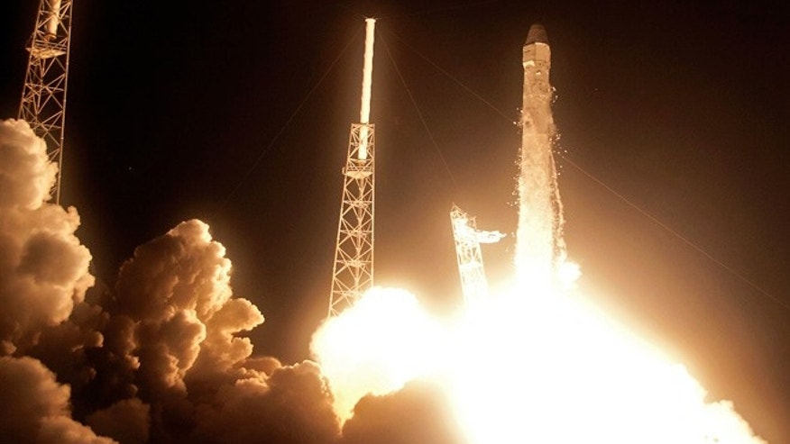 May 22, 2012: The Falcon 9 SpaceX rocket lifts off from space launch complex 40 at the Cape Canaveral Air Force Station in Cape Canaveral, Fla. This launch marks the first time, a private company sends its own rocket to deliver supplies to the International Space Station.