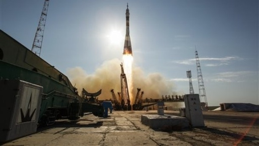 A Soyuz TMA-04M rocket launches from the Baikonur Cosmodrome in Kazakhstan on Tuesday, May 15, 2012.