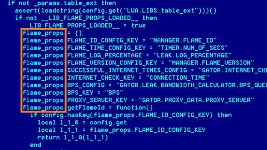 "May 28, 2012: A screenshot from researchers at Kaspersky Labs shows the code behind Flame, called ""the most sophisticated cyber weapon yet unleashed."""