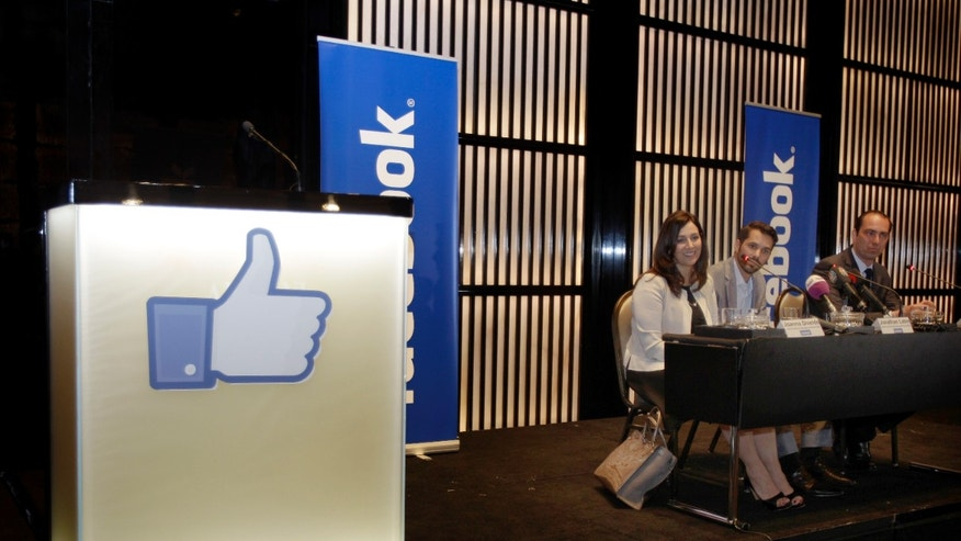 May 30, 2012: From left to right, Joanna Shields, Facebook's Vice president and Managing Director for Europe, Jonathan Labin, Head of Global Marketing Solutions in the Middle East and North Africa, and Christian Hernandez Gallardo Director of Platform Partnership, speak to journalists during the opening of Facebook's first Middle East office.