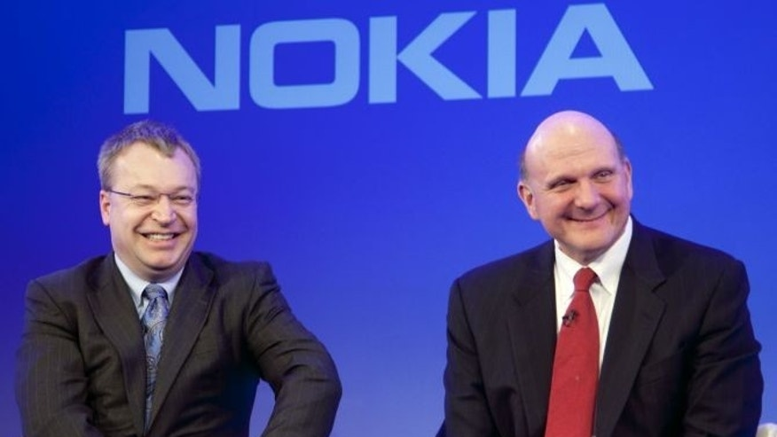 Nokia CEO Stephen Elop and Microsoft CEO Steve Ballmer announced their intent to jointly create market-leading mobile products and services designed to offer consumers, operators and developers unrivalled choice and opportunity at a press conference in London, UK February 11, 2011.  As each company would focus on its core competencies, the partnership would create the opportunity for rapid time to market execution.  The ability to bring together key products, such as Nokia Maps, Office, Bing, Windows Live, and Xbox Live would also ensure immediate consumer engagement.   Additionally, Nokia and Microsoft plan to work together to integrate key assets to create completely new service offerings, while at the same time  extending those established products  and services to new markets. Handout photo from Nokia