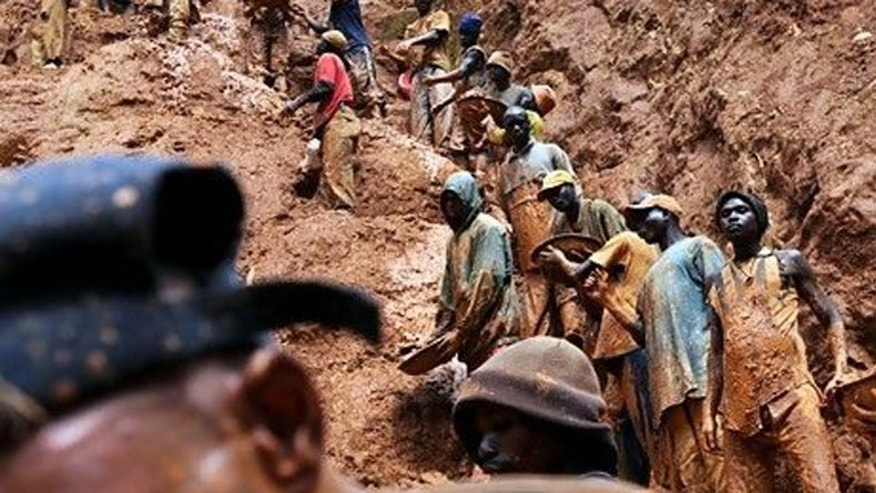 "Men work in a gold mine in Chudja, north eastern Congo -- one of the area in which so-called ""conflict minerals"" are mined."