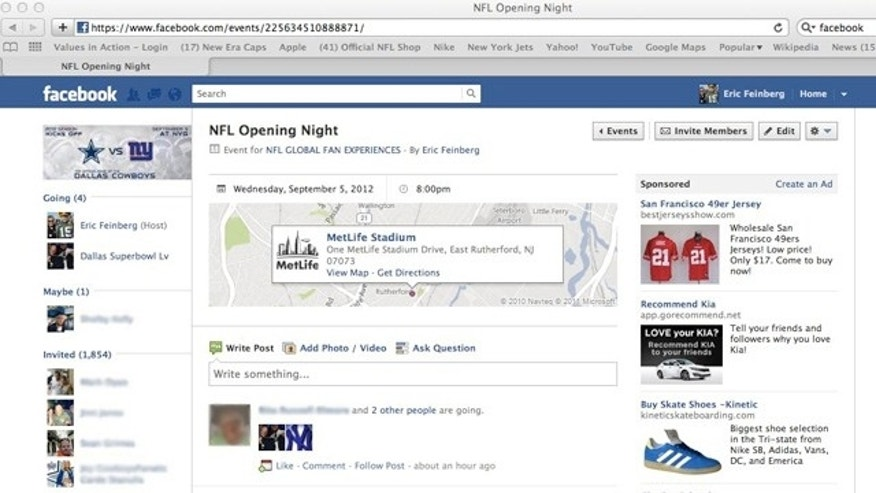 In this screen capture of an NFL-related event page, an ad for fake team jerseys as cheap as $17 appears on the right-hand side.