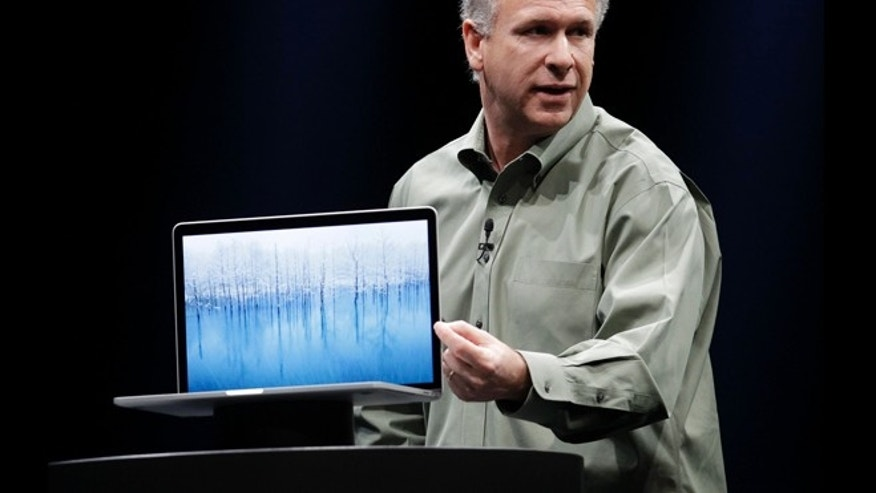 June 11, 2012: Apple Phil Schiller speaks about the new MacBook Pro at the Apple Developers Conference in San Francisco. The MacBook Pro, will get a new Intel chip and will start at $2,199. The new MacBook Air and MacBook Pro models will start shipping Monday.