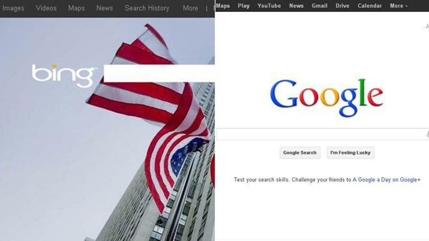 June 14, 2012: Microsoft's Bing search engine adopted a patriotic flag motif backgroun Thursday in celebration of Flag Day. Google's search engine appears to ignore the holiday.