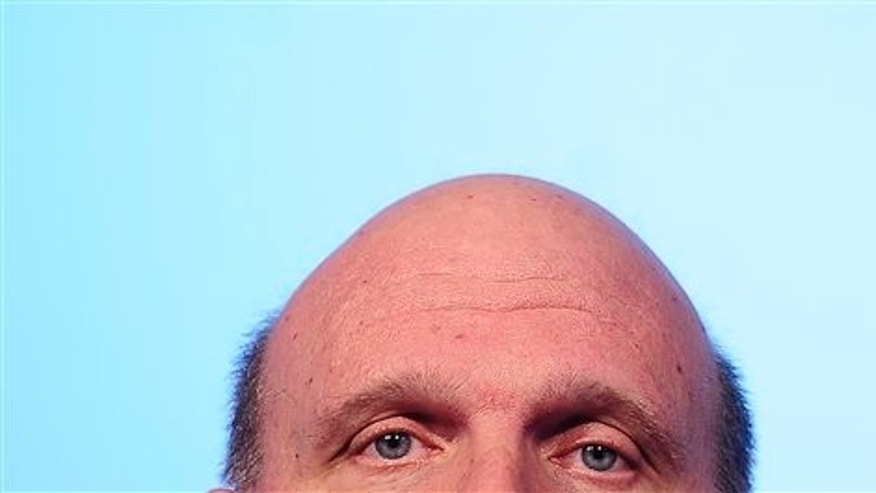 Feb. 15, 2010: Microsoft CEO Steve Ballmer looks on during a presentation in Barcelona, Spain.