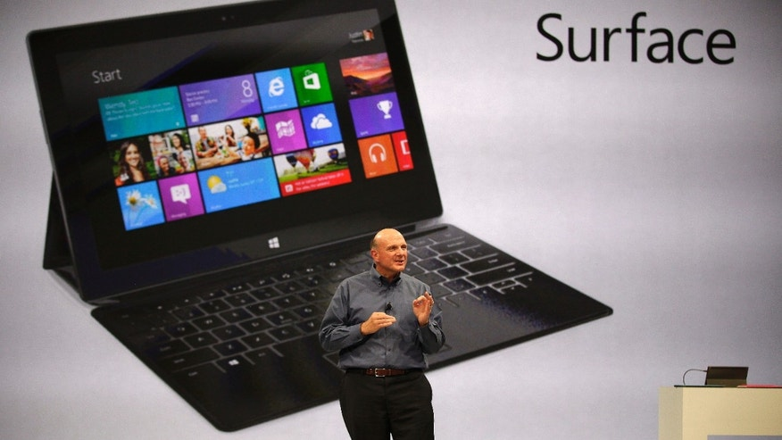 "June 18, 2012: Microsoft CEO Steve Ballmer unveils ""Surface"", a new tablet computer to compete with Apple's iPad, at Hollywood's Milk Studios in Los Angeles."