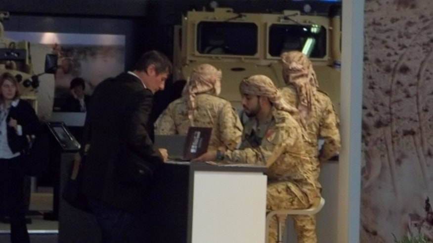 A military supply company from the United Arab Emirates (UAE) shows off its wares to the world at the Eurosatory 2012 show in Paris.
