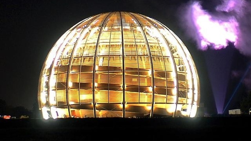 "Powerful ""skytracer"" floodlights light up the 27-kilometre ring of the Large Hadron Collider of the CERN, European Organization for Nuclear Research, in Geneva, Switzerland."