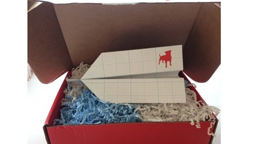 A box sent to reporters ahead of social-games maker Zynga contains only a paper airplane and the company's logo.