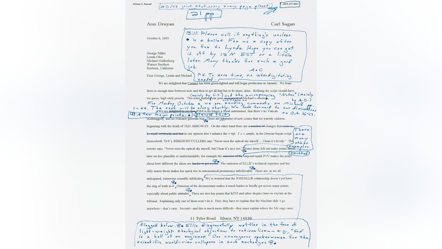 Carl Sagan/Ann Druyan letter to Warner Brothersâ production team, October 6, 1995 re: plans and details for science fiction drama film that became the movie âContactâ starring Jodi Foster. Manuscript Division, Library of Congress