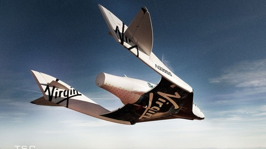 Suborbital SpaceShipTwo glides over Mojave Air and Space Port in California.